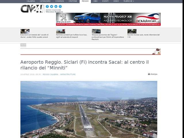 """Aeroporto Reggio. Siclari (Fi) incontra Sacal: al centro il rilancio del """"Minniti"""""""