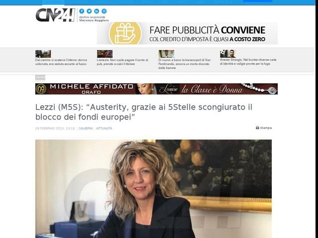 """Lezzi (M5S): """"Austerity, grazie ai 5Stelle scongiurato il blocco dei fondi europei"""""""