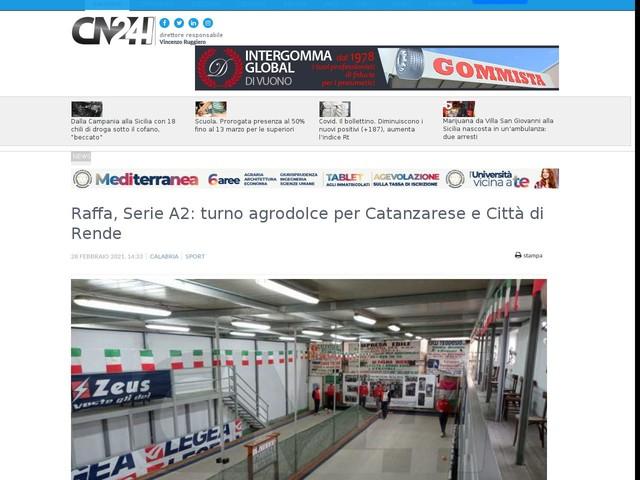 Raffa, Serie A2: turno agrodolce per Catanzarese e Città di Rende