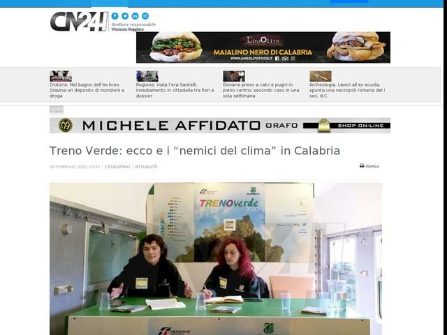 """Treno Verde: ecco e i """"nemici del clima"""" in Calabria"""