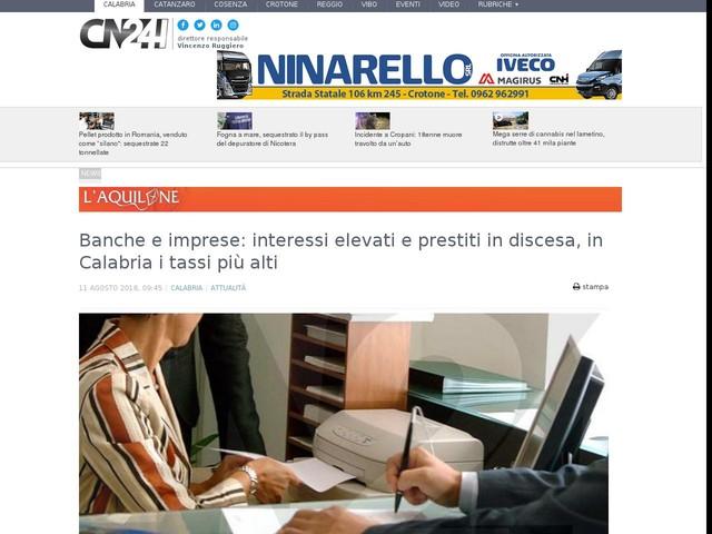 Banche e imprese: interessi elevati e prestiti in discesa, in Calabria i tassi più alti