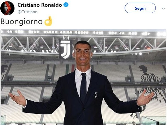 """Juventus, Cristiano Ronaldo e il """"Buongiorno"""" da 40 mila like"""
