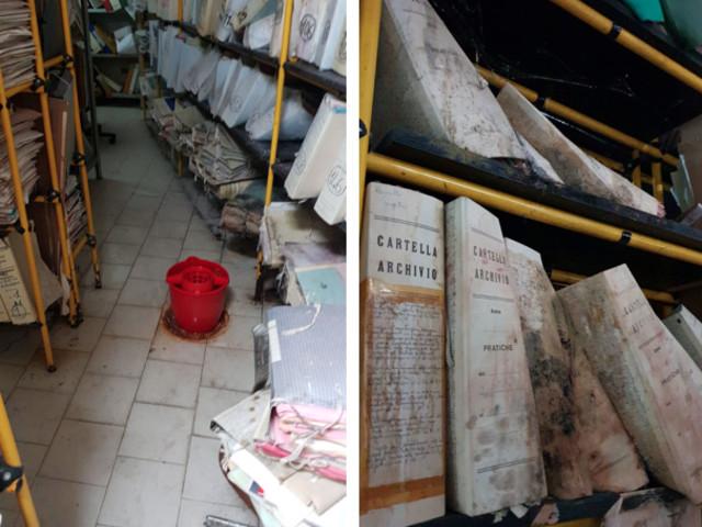 Faldoni inzuppati d'acqua, pagine incollate, acqua che cola sui pavimenti. È l'archivio dell'ufficio tecnico di Monreale (LE IMMAGINI)