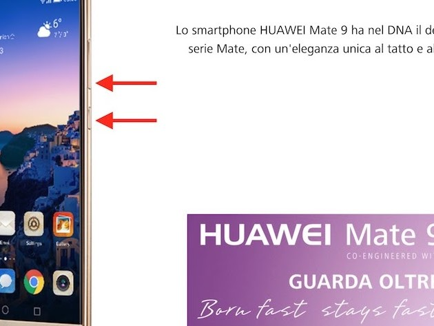 Hai un Huawei, vuoi fare Screenshot? Premi tasti VOL+ON