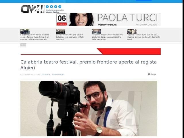 Calabbria teatro festival, premio frontiere aperte al regista Algieri