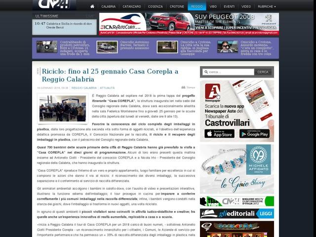 Riciclo: fino al 25 gennaio Casa Corepla a Reggio Calabria