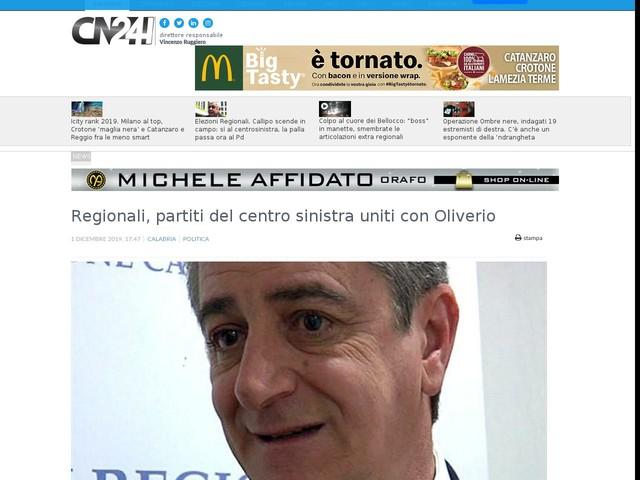 Regionali, partiti del centro sinistra uniti con Oliverio