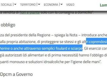 Perché la Regione Lombardia obbliga le persona a coprire «naso e bocca con mascherine o con semplici foulard e sciarpe»
