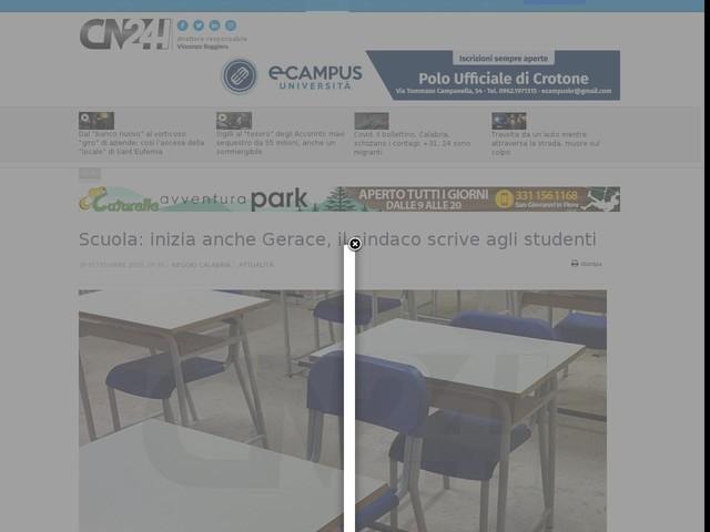 Scuola: inizia anche Gerace, il sindaco scrive agli studenti