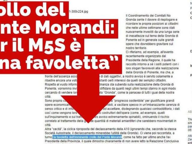 """""""La favoletta dell'imminente crollo del ponte"""", sul blog di Grillo le parole che imbarazzano M5S"""