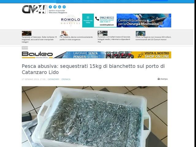 Pesca abusiva: sequestrati 15kg di bianchetto sul porto di Catanzaro Lido