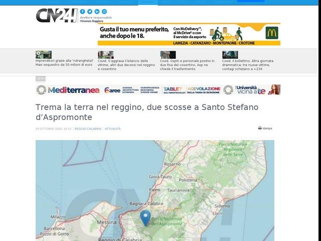 Trema la terra nel reggino, due scosse a Santo Stefano d'Aspromonte