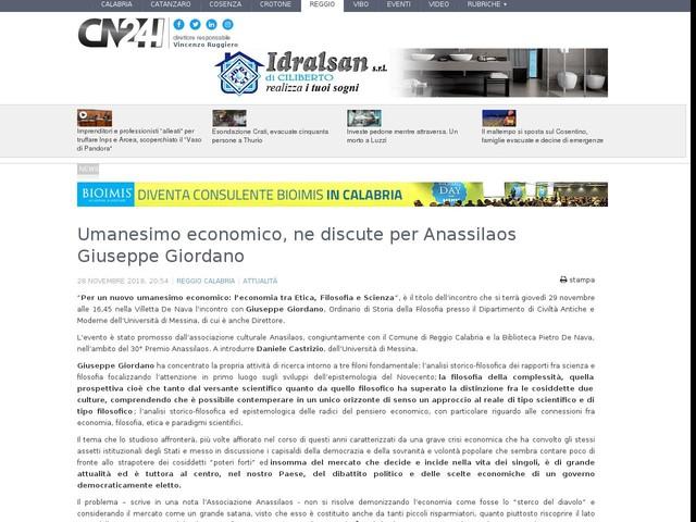 Umanesimo economico, ne discute per Anassilaos Giuseppe Giordano