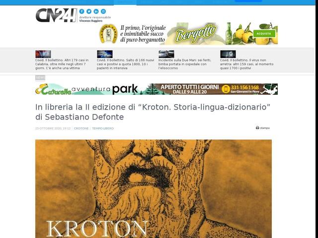 """In libreria la II edizione di """"Kroton. Storia-lingua-dizionario"""" di Sebastiano Defonte"""