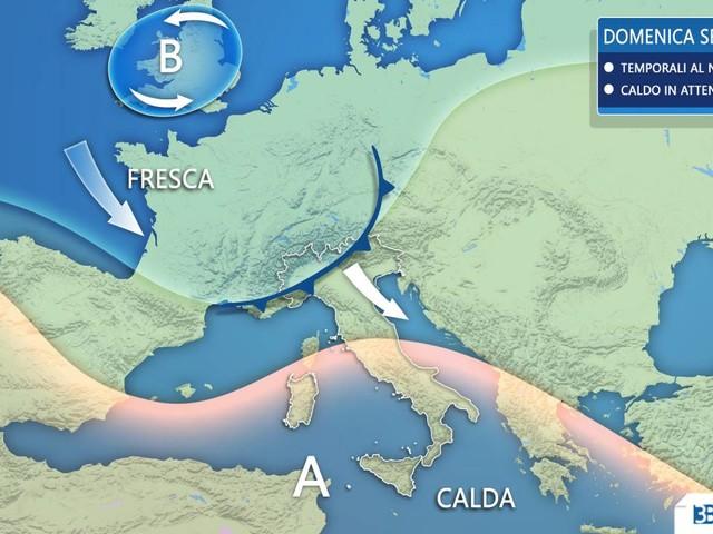 METEO ITALIA - Tra domenica e lunedì peggiora con PIOGGE e forti TEMPORALI a partire dal Nord
