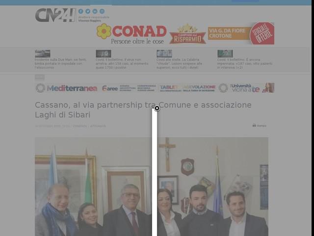 Cassano, al via partnership tra Comune e associazione Laghi di Sibari