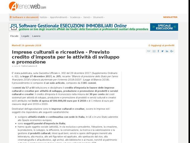 Imprese culturali e ricreative - Previsto credito d'imposta per le attività di sviluppo e promozione