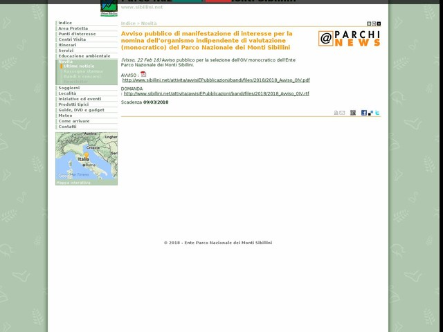 PN Monti Sibillini - Avviso pubblico di manifestazione di interesse per la nomina dell'organismo indipendente di valutazione (monocratico) del Parco Nazionale dei Monti Sibillini