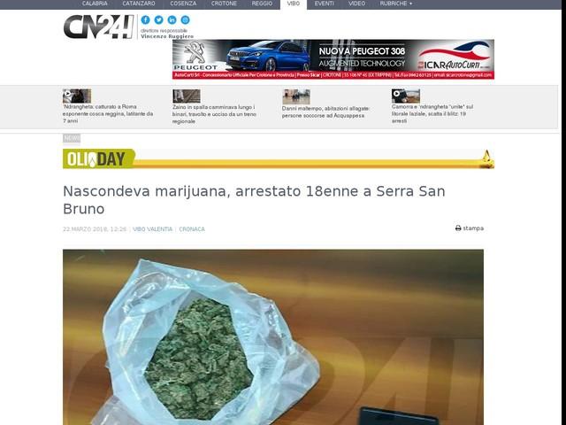 Nascondeva marijuana, arrestato 18enne a Serra San Bruno