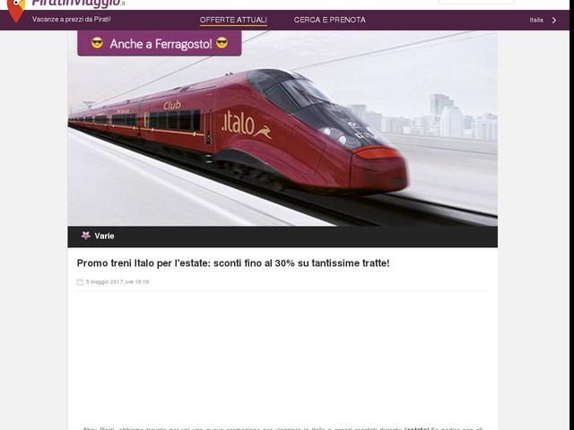 Promo treni Italo per l'estate: sconti fino al 30% su tantissime tratte!
