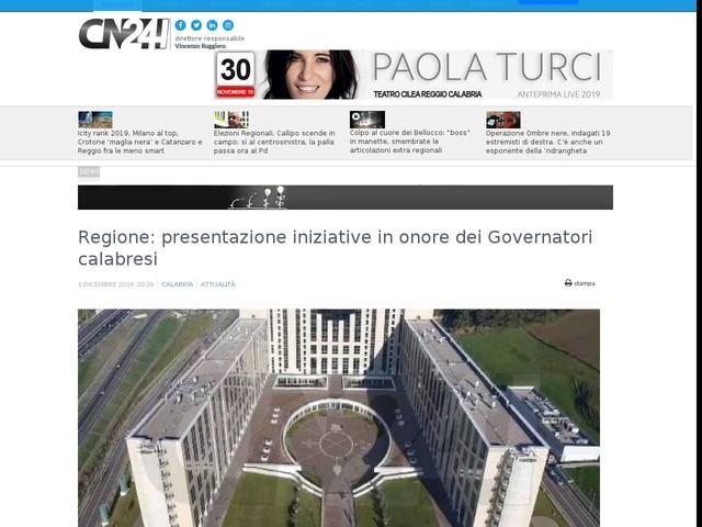 Regione: presentazione iniziative in onore dei Governatori calabresi