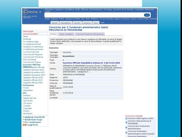 Funzionario amministrativo - FROSINONE - 2 posti