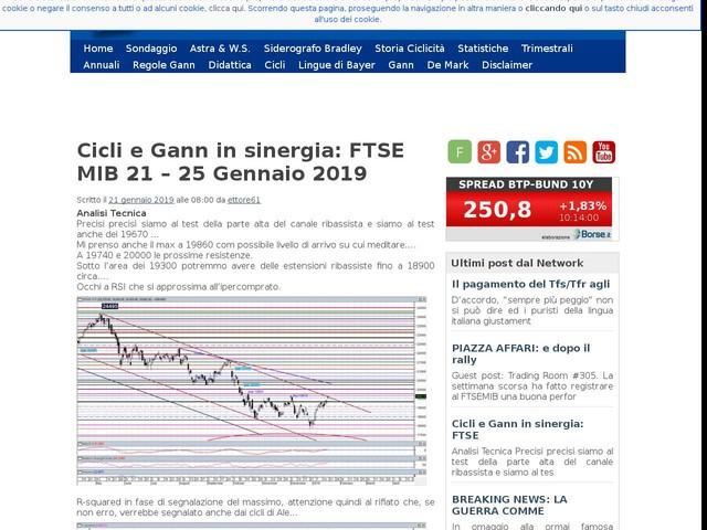Cicli e Gann in sinergia: FTSE MIB 21 – 25 Gennaio 2019