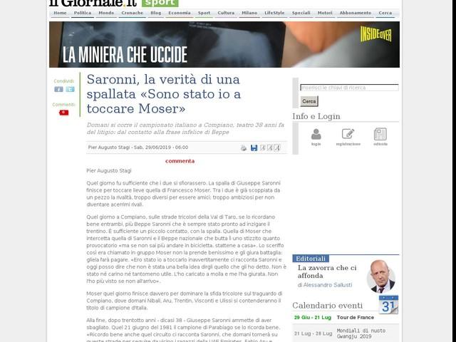 Saronni, la verità di una spallata «Sono stato io a toccare Moser»