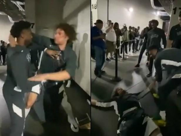 "Milwaukee Bucks, ingresso show in campo: Giannis ""mette al tappeto"" Robin Lopez. VIDEO"
