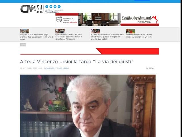 """Arte: a Vincenzo Ursini la targa """"La via dei giusti"""""""
