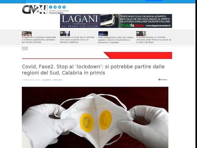 Covid, Fase2. Stop al 'lockdown': si potrebbe partire dalle regioni del Sud, Calabria in primis