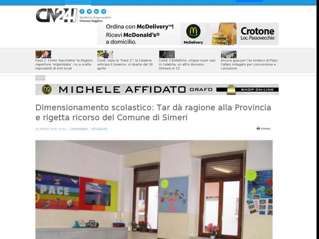 Dimensionamento scolastico: Tar da' ragione alla Provincia e rigetta ricorso del Comune di Simeri