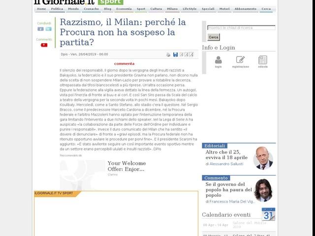 Razzismo, il Milan: perché la Procura non ha sospeso la partita?