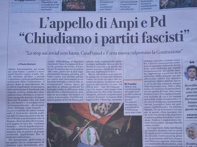 """Carla Nespolo: """"Basta tentennamenti, vengano sciolti i partiti e le organizzazioni neofasciste"""""""