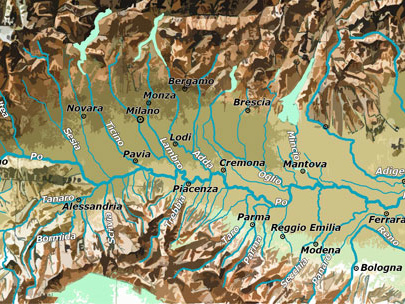 Pianura Padana: cartina fisica e cartina politica
