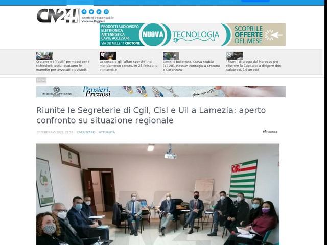 Riunite le Segreterie di Cgil, Cisl e Uil a Lamezia: aperto confronto su situazione regionale