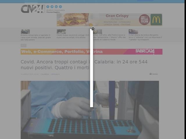 Covid. Ancora troppi contagi in Calabria: in 24 ore 544 nuovi positivi. Quattro i morti