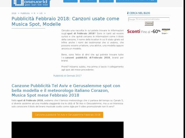 Pubblicità Febbraio 2018: Canzoni usate come Musica Spot, Modelle