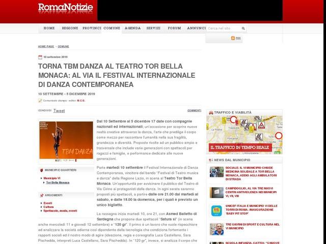 Torna TBM Danza al Teatro Tor Bella Monaca: al via il Festival Internazionale di Danza Contemporanea
