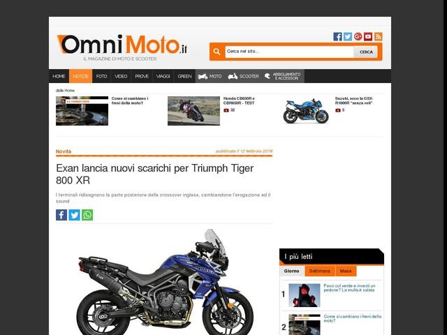 Exan lancia nuovi scarichi per Triumph Tiger 800 XR