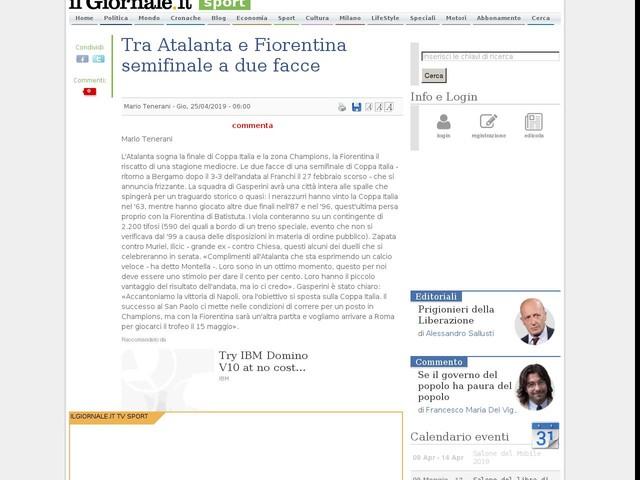Tra Atalanta e Fiorentina semifinale a due facce