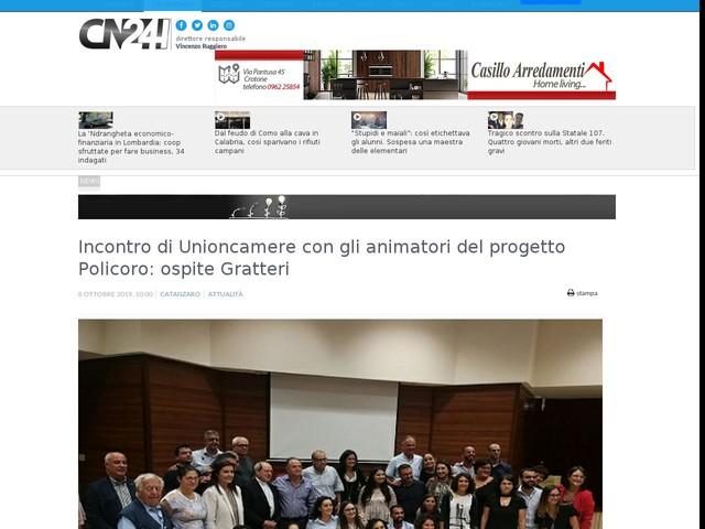 Incontro di Unioncamere con gli animatori del progetto Policoro: ospite Gratteri