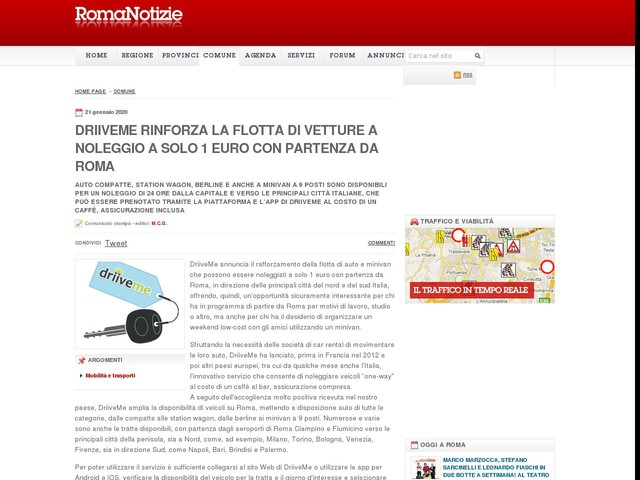 DriiveMe rinforza la flotta di vetture a noleggio a solo 1 euro con partenza da Roma