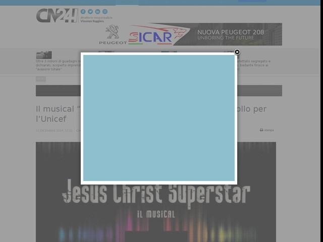 """Il musical """"Jesus Christ Superstar"""" in scena all'Apollo per l'Unicef"""