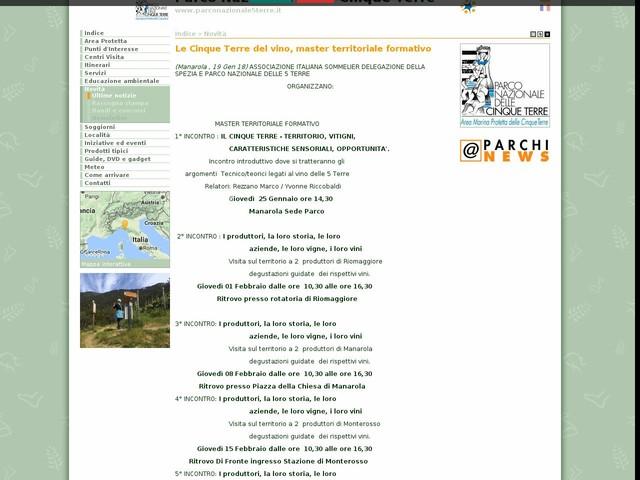 PN Cinque Terre - Le Cinque Terre del vino, master territoriale formativo