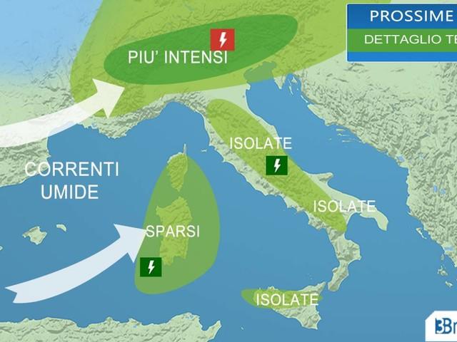 Meteo Italia: sino a martedì temporali poi alta pressione e clima estivo