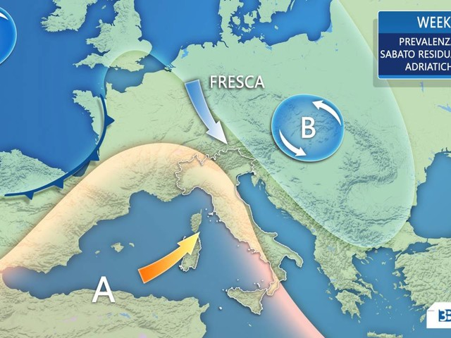 METEO WEEKEND: ultimi disturbi al SUD, SOLE prevalente ma CLIMA FRESCO
