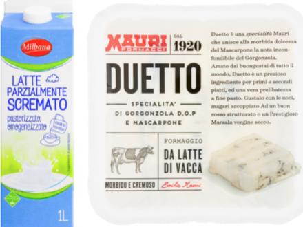 Rischio microbiologico: richiamati latte parzialmente scremato Milbona Lidl e gorgonzola e mascarpone Duetto Mauri
