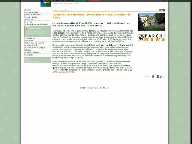 PR Mincio - Domenica alle Bertone: Bio-pilates e visite gratuite nel Parco