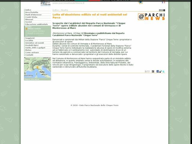 PN Cinque Terre - Lotta all'abusivismo edilizio ed ai reati ambientali nel Parco